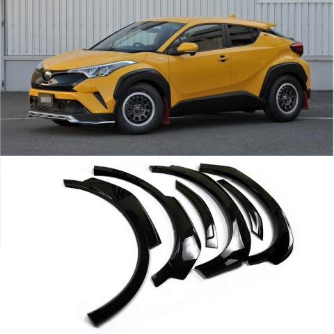 High Quality Glossy / Matte Unpainted Black Fender Flares Wheel Arch 6pcs For Toyota C-HR CHR 2016-2019