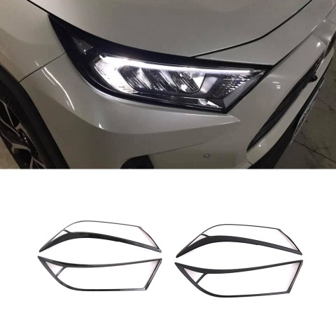 Free Shipping ABS Front Head Light Lamp Cover Trim For Toyota RAV4 2019 2020
