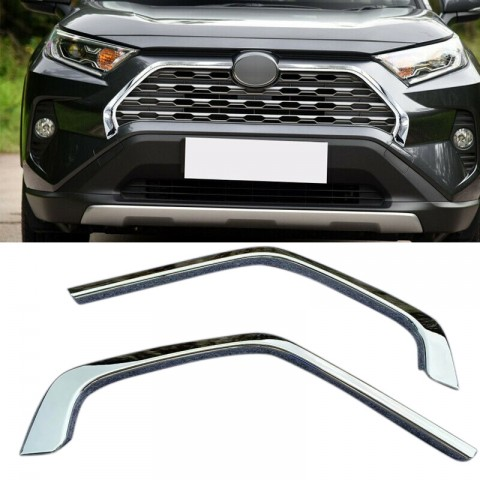Free Shipping ABS Chrome Front Grill Grille Decorative Cover Trim Strips For Toyota RAV4 2019 2020 2021