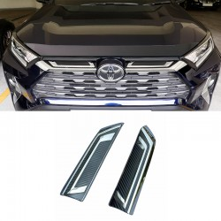 Free Shipping ABS Front Center Grille Stripe Cover Trim 2pcs For Toyota RAV4 2019 2020 2021