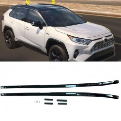 Black Aluminum Side Bars Rails Roof Rack Luggage Carrier For Toyota RAV4 2019 2020 2021