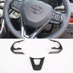 Free Shipping Interior ABS Carbon Style Steering Wheel Cover Trim For Toyota RAV4 2019 2020 2021