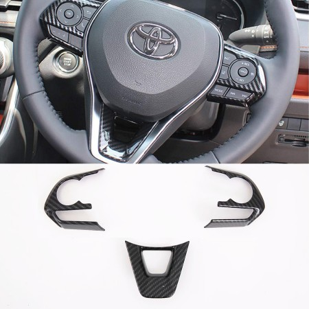 Fltaheroo for Rav4 Rav 4 2019 2020 Carbon Fiber Car Steering Wheel Protective Cover Trim Sticker Interior Accessories Styling