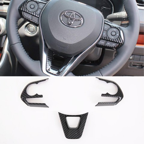 Free Shipping Interior ABS Carbon Style Steering Wheel Cover Trim For Toyota RAV4 2019 2020