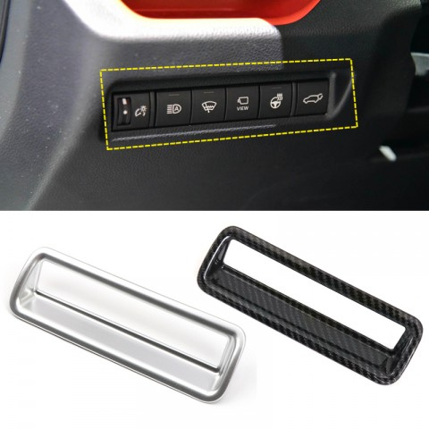 Free Shipping Carbon Style Head Light Switch Button Cover Trim 1pcs For Toyota RAV4 2019 2020