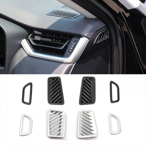 Free Shipping Carbon Style Front Upper Air Condition Vent Cover Trim For Toyota RAV4 2019 2020 2021