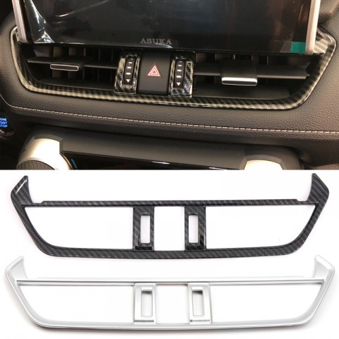 Free Shipping Carbon Style Inner Middle Console Air Condition Vent Cover Trim For Toyota RAV4 2019 2020