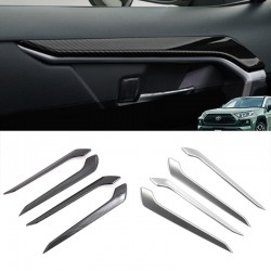 Free Shipping Carbon Style Inner Inside Door Decorative Covers For Toyota RAV4 2019 2020
