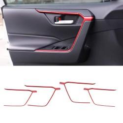 Free Shipping Door Inner Armrest Frame Handle Decor Cover Trims ABS RED 4pcs (Door Upper) For Toyota RAV4 2019-2021