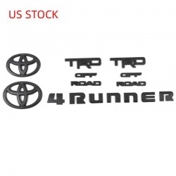 Free Shipping ABS Matte Black Style Emblem Overlay Kit For Toyota 4Runner TRD OFF ROAD 2014-2019