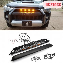 With LED Light For 2014-2019 Toyota 4Runner TRD PRO 4Piece Front Bumper Grille Replacement & TRD PRO Black Emblems