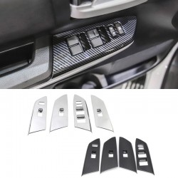 Free Shipping Car Interior Window Switch Control Cover Trim ABS Carbon Fiber Grain 4PCS LHR (Not Fit for Double Cab) for Toyota Tundra Crewmax 2014-2021
