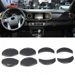 Free Shipping Carbon Style Interior Central Console A/C Air Outlet Cover Trims for Toyota Tundra Crewmax, Double Cab 2014-2021