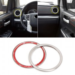 Free Shipping Interior Dashboard Console Side Air Vent Cover Ring Decor Stainless Steel 2PCS For Toyota Tundra Crewmax, Double Cab 2014-2021
