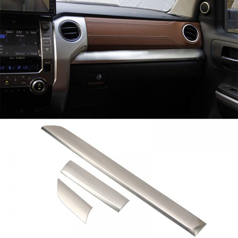 Free Shipping Central Console Strip Cover Trim Stainless Steel 3PCS (Not Fit for RHD) For Toyota Tundra Crewmax, Double Cab 2014-2021