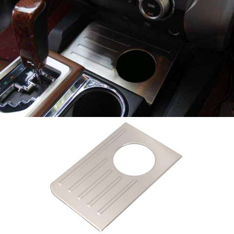Free Shipping Car Interior Gear Console Water Cup Cover Trim Stainless Steel (Not Fit for RHD) For Toyota Tundra Crewmax, Double Cab 2014-2021