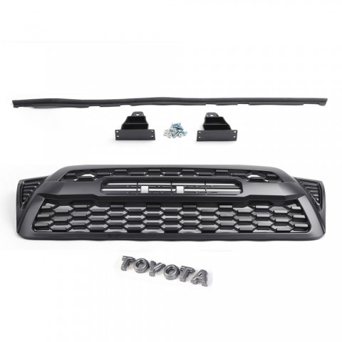 Matte Black Front Bumper Hood Grille Grill For 2005-2011 Toyota Tacoma TRD PRO Replacement