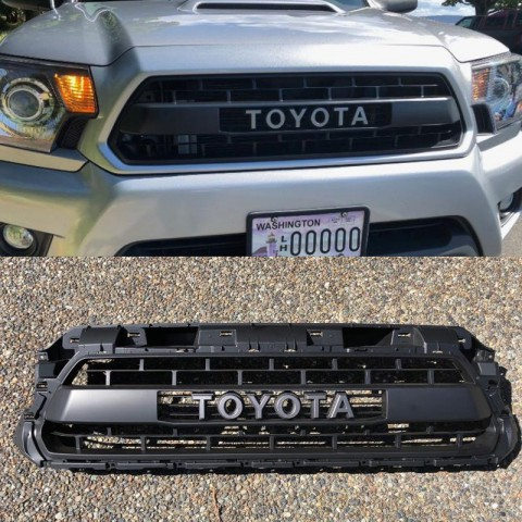 Ship to the U.S. only!!!Matte Black Front Bumper Hood Grille Grill For 2012-2015 Toyota Tacoma TRD PRO Replacement