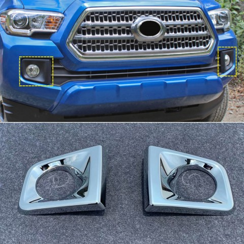 Free Shipping ABS Chrome Front Fog Light Lamp Cover Trim 2pcs For Toyota Tacoma 2016-2019