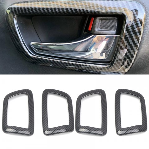 Free Shipping Carbon Style Inner Side Door Handle Bowl Cover Trim For Toyota Tacoma 2016-2019