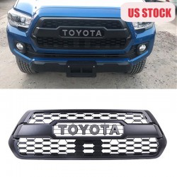 Only ship to U.S.!!!Matte Black Front Bumper Hood Grille Grill For 2016-2021 Toyota Tacoma TRD PRO Replacement