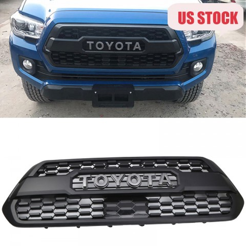 Free Shipping Matte Black Front Bumper Hood Grille Grill For 2016-2019 Toyota Tacoma TRD PRO Replacement & Radiator Sensor Cover