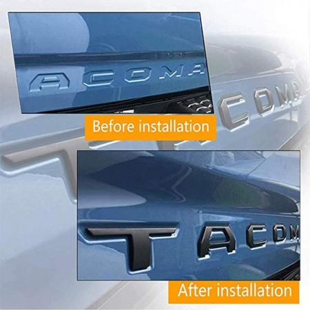 Matte Black LivTee 3D Raised Tailgate Letters for Toyota Tacoma 2016-2020 Zinc Alloy Metal Inserts with 3M adhesive backing